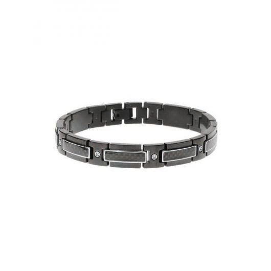 Bracelet acier noir et carbone