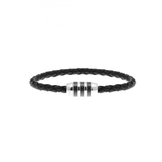Bracelet cuir et carbone
