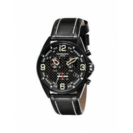 Montre carbone bracelet cuir noir